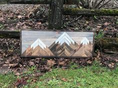 Rustic Mountain Wood Pattern Wall Art by Bayocean Rustic Design