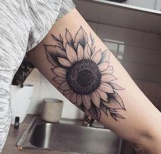 22 we love sunflower tattoo sleeve black beautiful 5 Sunflower Tattoo Sleeve, Sunflower Tattoo Shoulder, Flower Sleeve, Sunflower Tattoos, Sunflower Tattoo Design, Sunflower Mandala Tattoo, Mandala Sleeve, Lotus Mandala, Trendy Tattoos