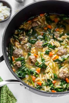 Make homemade Italian wedding soup with fresh ingredients and this easy recipe. Crockpot Italian Wedding Soup, Italian Soup Recipes, Italian Wedding Foods, Homemade Focaccia Bread, Cooking Recipes, What's Cooking, Cooking Ideas, Lunch Recipes, Fall Recipes