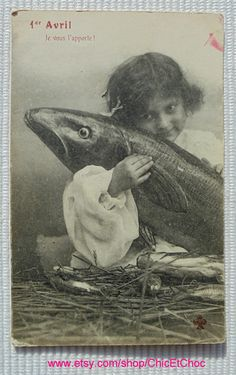 French Antique Postcard - Child Hugging a Fish (Poisson D'Avril / April 1st) by ChicEtChoc on Etsy