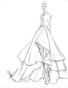 Original Fashion Illustration White Feather Dress by anumt on Etsy Fashion Illustration Sketches, Illustration Mode, Fashion Design Sketches, Sketch Fashion, Wedding Dress Illustrations, Wedding Dress Sketches, Retro Fashion, Fashion Art, Wedding Drawing
