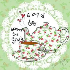 'A cup of tea warms the soul.' Tea in art. Tee Kunst, Tea Quotes, Tea Time Quotes, Tea And Books, Cuppa Tea, My Cup Of Tea, High Tea, Chai, Drinking Tea