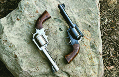 """The """"opposite but equal"""" custom Ruger Bisley build: a .44 Rem. Mag and a .45 Colt. Which one of these beautiful brutes comes out on top?"""
