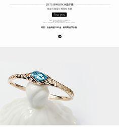 Austrian crystal bracelet hollow out of blue crystal stones rose gold plating
