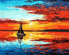 Sailing at Sunset #OilPaintingOcean