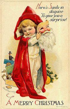 Vintage- Here's Santa in disguise to give you a surprise... A Merry Christmas.  LÁMINAS VINTAGE,ANTIGUAS,RETRO Y POR EL ESTILO....