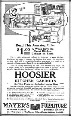 hoosier cabinet ad- we had one of these growing up