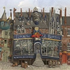 Harry Potter, illustrated by Jim Kay. Detail of Diagon Alley, from the Philosopher's Stone. Harry Potter Fan Art, Harry Potter Jim Kay, Harry Potter Wands Diy, Harry Potter Diagon Alley, Harry Potter Room, Harry Potter Universal, Harry Potter Movies, Harry Potter World, Ghibli