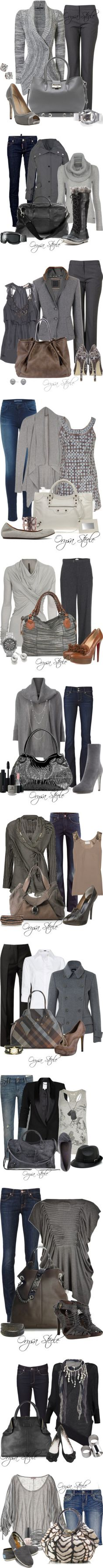 """""""Shades of Grey"""" by orysa on Polyvore - I like all of these for fall."""