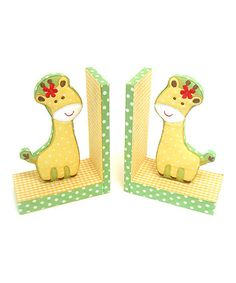 Take a look at this Yellow Giraffe Fabric Bookend - Set of Two by Concepts on #zulily today!