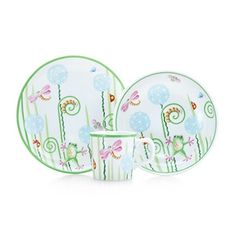 Tiffany Fiddleheads three-piece baby set in porcelain.