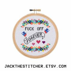 F*ck Off Forever Subversive Modern Cross Stitch Template Pattern Instant PDF Download by JackTheStitcher on Etsy https://www.etsy.com/listing/255474884/fck-off-forever-subversive-modern-cross