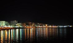 Love how the lights shimmer on the water - Views from Loutraki, Corinth, Greece Corinth Greece, Corinth Canal, My Town, Wonders Of The World, Backpacking, Places Ive Been, Rio, Greek, Spaces
