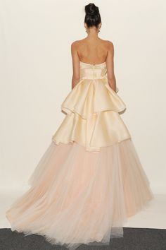 Eve of Miladay - Spring Bridal 2014  TAGS:Ruffles, Floor-length, Strapless, Tiered, Champagne pink, Eve of Milady, Satin, Silk, Tulle, Dramatic