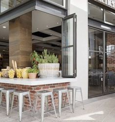 TrendThing: cafe design /// Capital Kitchen // by Mim Design, windows + outdoor seating Australian Style, Australian Interior Design, Interior Design Awards, Contemporary Interior, Cafe Bar, Cafe Restaurant, Restaurant Design, Restaurant Interiors, Corner Restaurant