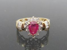 Vintage Solid Yellow Gold Genuine Ruby & Diamond Ring Size by on Etsy 14k Gold Bracelet, 14k Gold Ring, Gold Rings, Ruby Diamond Rings, Solid Gold, Heart Ring, Jewels, Yellow, Unique Jewelry