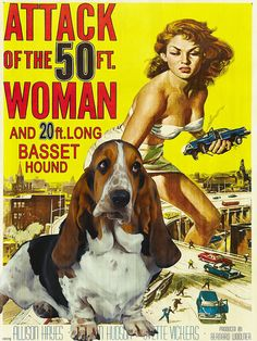 I've got to have this!   Basset Hound Vintage Movie Style Poster Canvas by NobilityDogs, $55.90