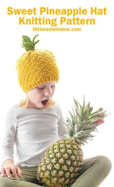 This sweet pineapple hat knitting pattern looks as delicious as it is cute! Knit this one for your sweet baby or toddler this summer! Kids Knitting Patterns, Baby Hat Knitting Pattern, Summer Knitting Projects, Pineapple Hat, Knitting Abbreviations, Knitted Hats, Crochet Hats, Knit In The Round, Cute Hats