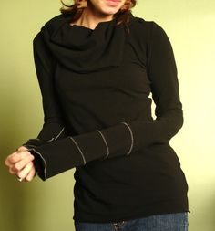 extra long sleeved cowl top Black by joclothing on Etsy