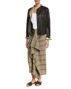 -7HNJ Brunello Cucinelli  Leather Asymmetric-Zip Jacket w/ Metallic Lining  Scoop-Neck Tank Top  Prince of Wales Check Wrap Skirt with Ruffle