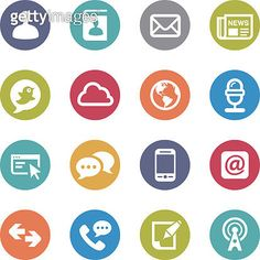 Communication and Media Icons - Circle Series - gettyimageskorea