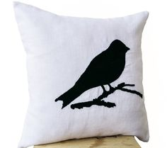 Decorative Throw Pillow Cover with Colorful Bird Embroidered on White Linen - Handmade Linen Sofa Cushion Cover - Bird Theme Accent Pillow Cover - Couch Cushion 16 X 16 (Black) Amore Beaute http://www.amazon.com/dp/B00IW61Z80/ref=cm_sw_r_pi_dp_9RtPtb0MX89KTCQW