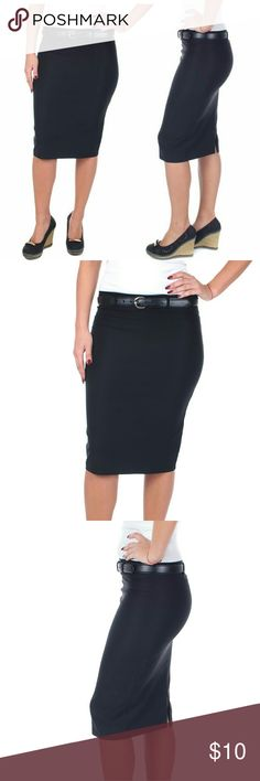 """Women Pencil Skirt with Belt, d3018, Black Knee length stretch woman pencil skirt with a classy slit and black belt is perfect for office wear. Comfortable, elastic, not lined pull-on. Belt has 5 holes for comfort wear. Can be worn on or below waist. Skirt length approx 23.5"""". A true statement in ladies fashion! Made in USA! Waist: small 26"""", medium 28"""", large 30"""", XL 32"""". Forever Young  Skirts"""