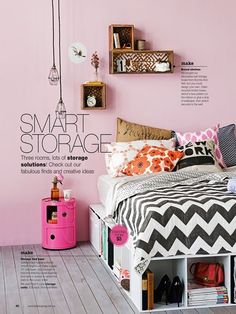 I like the idea of using storage cubes for a DIY bed!