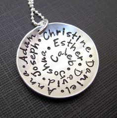 All my FAMILY  Sterling Silve Hand Stamped by jcjewelrydesign, $69.00