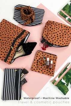 L+L's waterproof and machine washable pouches make amazing cosmetics, toiletries and travel bags. Mix-and-match prints and sizes to cover al of your accessories needs! Travel Pouches, Travel Bags, Work Bags, Black White Stripes, Fashion Prints, Cosmetics, Diaper Bags, Cover, Amazing