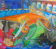 """Arte en Buenos Aires. Mariana Jasovich :. pinturas. Serie Supermercado """"Changuitos"""" , acrílico sobre tela 110 x 125"""