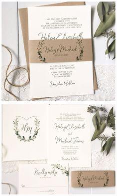 Rustic wedding invitation. Wedding crest