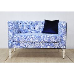 Loveseat Blue Eyes ($1,750) ❤ liked on Polyvore featuring home, furniture, sofas, home & living, light purple, living room furniture, sofas & loveseats, tufted furniture, blue furniture and floral furniture
