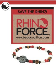 Rhino Force Bracelet. Money goes to protecting rhinos in Africa. Order displayed in African Rand...equates to around $11 with shipping