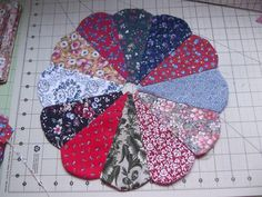 """This free quilt pattern is called """"Easy Peasy Round Tip Dresden Tutorial"""". Have fun!"""