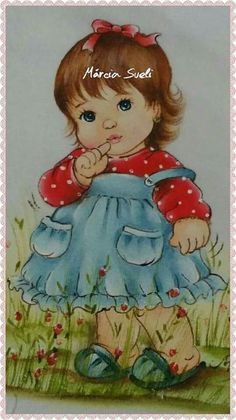 Baby Painting, Fabric Painting, Adult Coloring, Coloring Books, Baby Drawing, Picture Postcards, Holly Hobbie, Baby Art, Art Sketchbook