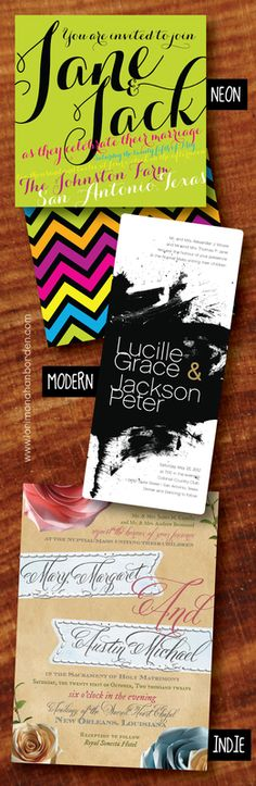 TRENDING WEDDING INVITES!  NEON | MODERN | INDIE  lori monahan borden design llc - Samples