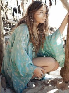 Sexy boho chic modern hippie kaftan dress & other Bohemian fashion trend ideas FOLLOW http://www.pinterest.com/happygolicky/boho-chic-fashion-bohemian-jewelry-boho-wrap-brace/