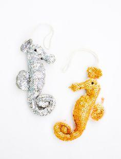 Sequin Seahorse Ornament | Leif shop