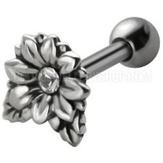 Jewelled Silver Tragus Stud - Clear Flower