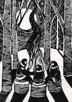 Three Weary Woodsmen Lino print/illustration by JustineHowlett, Linocut Prints, Art Prints, Block Prints, Woodblock Print, Printmaking, Illustration Art, Botanical Illustration, Images, Chinese Painting