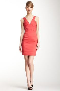 Vera Wang Deep V-Neck Match Stretch Banded Sheath Dress by Sunny Day Staples......this is so elegant.