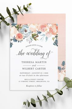 Watercolor Rustic Peach Floral Themed Invitations, Cards, Stationery and more. Spring Wedding Invitations, Wedding Invitation Design, Floral Invitation, Invitation Set, Wedding Themes, Reception, Wedding Day, Stationery, Presents