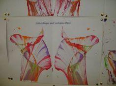 touw/ schoenveters schilderen in verschillende kleuren - op een blad leggen (eventueel gekruld) - blad tss een telefoonboek leggen - trekken aan de 2 uiteindes van de touwen