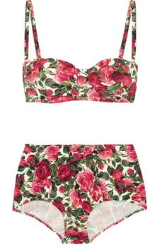 Each season we turn to Dolce & Gabbana for colorful, romantic prints. This Italian-made bikini has an all-over rose motif and is cut in a retro-inspired silhouette. The underwired balconette cups lend support while the darted high-rise briefs smooth over your hourglass shape. Wear it at the beach with sunglasses and a wide-brim hat.