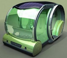 Solar Power Car 2030 - Conceptualized by Mihai Stamati, this  solar powered car is big enough to allow 4 to 5 folks to ride  comfortably. The roof is  plastered with solar panels that juice up this spacious green vehicle. Steer it comfortably by a joystick and a few  other control buttons on the front. This solar powered van is fitted  with ergonomical seats and a table at the rear. With two  motors on the rear, it can move at a slow speed, less than 30 kph, when  extended.