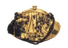 Judith Leiber Gold Silk & Swarovski Evening Bag