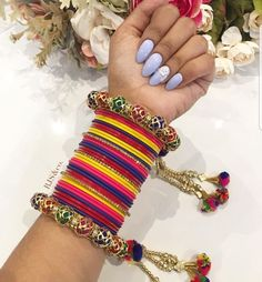 Indian Jewellery Design, Indian Jewelry, Jewellery Designs, Silver Bracelets, Bangle Bracelets, Chuda Bangles, Bangle Ceremony, Gold Mangalsutra Designs, Silk Thread Bangles