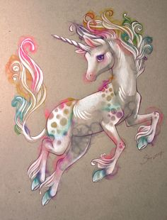 Drawing of a baby rainbow unicorn. This is what they usually look like but someone did a drawing of one from Unicorn Land Unicorn And Fairies, Unicorn Fantasy, Unicorns And Mermaids, Unicorn Art, Magical Unicorn, Rainbow Unicorn, Unicorn Painting, Unicorn Drawing, Beautiful Unicorn