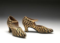 Shoes - ca.1925 Silk, leather. glass button. (embossed in gold ink on black leather insole: Ledgards / 335. OXFORD ST W. / 2 DOORS FROM BOND ST / MADE IN BELGIUM)